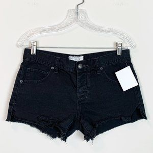 Free People | cut off black denim shorts size 26